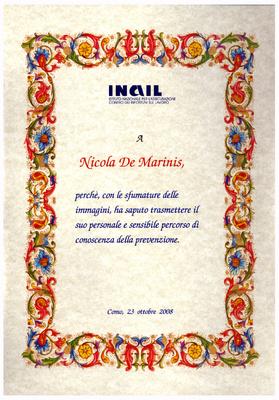 """Premio Nazionale INAIL 2008 per il video fotografico """"Tanto non succede"""""""