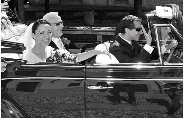 La sposa arriva con suo padre in Chiesa S.Giuliano a Como