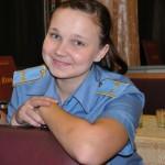 una giovane ragazza stagista per le ferrovie russe a bordo della transiberiana , asia, siberia, russia, |a young intern for the Russian railways aboard the Trans-Siberian, asia, siberia, russia