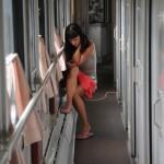 una passeggera sul treno transiberiana , asia, russia, siberia, |a passenger train on the Trans-Siberian, asia, russia, siberia,