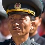 asia, corea del nord, militare della banda musicale nazionale coreana in occasione della cerimonia di riapertura della linea ferroviaria Kazan ( estermo oriente russo ) Corea del Nord