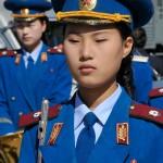 corea del nord, la banda militare nazionale femminile in occasione della cerimonia di riapertura della linea ferroviaria Kazan ( estermo oriente russo ) Corea del Nord nel lla città portuale di Rajn