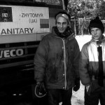 Paolo uno degli autisti con un ragazzino dell'orfanotrofio all'arrivo dopo il lungo viaggio verso Zhitomir Paul one of the drivers with a kid orphanage arrival after the long journey to Zhitomir in Ukraine ph © Nicola De Marinis