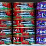 Transnistria scatole di pesce nel supermercato della catena Sheriff a Tiraspol Transnistria boxes of fish in the supermarket chain Sheriff Tiraspol Ph © Nicola De Marinis