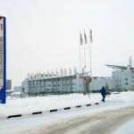 Transdnistria un distributore di carburante della Sheriff e sull sfondo l'imponente stadio di calcio Transnistria a petrol Sheriff background the imposing football stadium ph © Nicola De Marinis