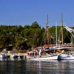 Europa, croazia, isola pag, motonavi per crociere nel porticciolo di mandre
