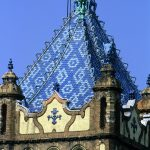 particolare dei tetti dell''Istituto Geologico Nazionale è uno dei più belli edifici di Buidapest