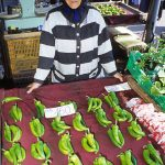 una donna anziana vende peperoni al mercato di Budapest