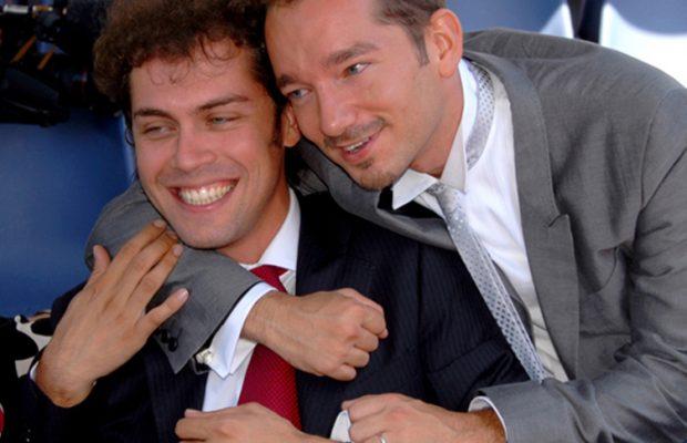 Lo sposo, Jona Peduzzi, autore televisivo di canale 5, con l'amico Raffaello Tonon
