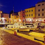 Croatia, island of lussino, the great lush village close to the marina at night