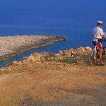 Dalamazia isola di Korkula cicloturisti sulla strada litoranea verso Pupnatska Luka consulatano una mappa dell'isola