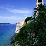 Croatia, Island of Rab, the coast in front of the church of Santa Maria Velika in Rab