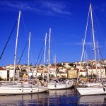 Croatia, losjni island, sailing boats moored at the harbor