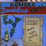 Dalmazia,Isola di Korkula, un cartello che indica una Konoba nel villaggio di Zavalatica