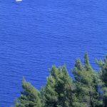 Dalmazia, Isola di Korkula, una barca a vela solca le acque lungo la costa di Babina