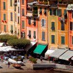 Typical pastel coloured houses in Portofino in Liguria
