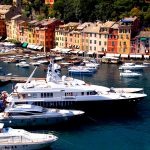 Large yachts set up in the bay of Portofino in liguria