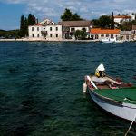 boats moored in the port of the island of Dugi Otok Luka