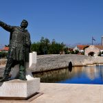 croatia, island of nin, the statue of the Duke of branimir entrance of the village of nin