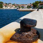 a bollard mooring at the port on the island of zverinak Croatian
