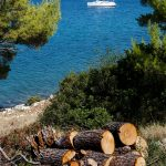 a sailboat moored in a cove on the island Dugi otok near the National Park Telascica