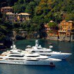 portofino Large yachts set up in the bay of Portofino in liguria