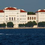 the buildings of the University of Zara in Croatia, view from the sea