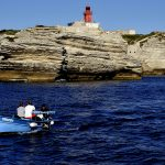 europe, france, corsica, the coast with lighthouse near bonifacio
