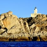 Europe, Italy, Sardinia, Head lighthouse head to Santa Teresa di Gallura at sunset