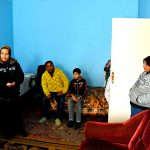 Europe, Romania, Iasi, a family of Roma in her home in a suburb of the city