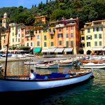 A taxi boat moored in the bay of Portofino in liguria