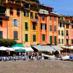 The square and the promenade with portofino restaurants in liguria