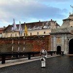 europe, romania, a uniformed soldier stands guard at the medieval citadel of Alba Julia