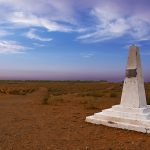 the military monument in honor of Colonel Philippe leclerc in the Tunisian desert near ksar Ghilane