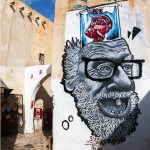 tunisia, a mural in the medina of houmt souk on the island of jerba